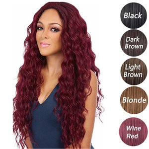 Synthetic Wigs Fluffy Hair Corn scalding Long Curly Black Brown Burgundy Synthetic Hair wigs 70cm 1 Piece lot