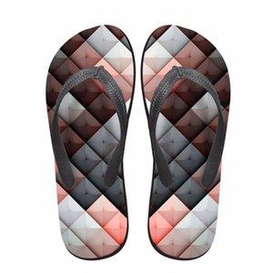 Noisydesigns Frauen Flop Mädchen Strand Sandalen Plateauschuhe Sommer Pantoffeln 3D Checkered Druck Damen Damen-Flops Flip-Flops
