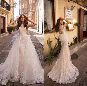 Champagne Lace Mermaid Wedding Dresses Cheap 2020 Tulle Applique Court Train Wedding Bridal Gowns With Over Skirts