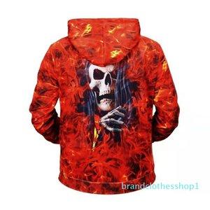 Fashion-halloween red mens designer hoodie winter luxury 3D print fire skull hoodies men skeleton sweatshirt lovers sportswear