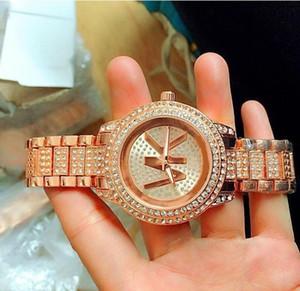 Art- und Weisedamenrosa Uhrdiamant passt Frauen Entwerfer-Kristallvorwahlknopf-Rotgoldarmbanduhr-Edelstahluhr auf