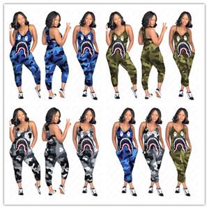 das mulheres Designer Jumpsuit macacãozinho camuflagem Suspensórios Jumpsuit tubarão dos desenhos animados Imprimir Long Pants Sexy V-neck Romper One Piece Set D52705