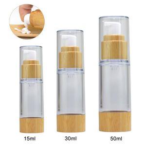 15ml / 30ml / 50ml Bouteille réutilisable maquillage portable vide cosmétiques Lotion Essence de stockage Bouteille Bamboo Vider Voyage