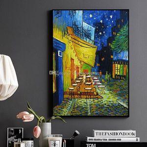 Gece Cafe Cafedusoir Van Gogh Reprodüksyo Tuval Wall Art Ana Ara Yüksek Qualityl53 vA On Handpainted Özet Manzara Sanat Yağlıboya Resim.