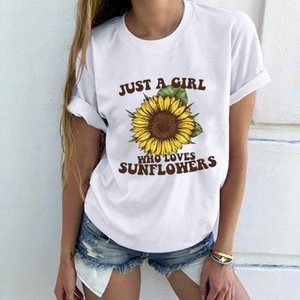 Shirts Short Sleeve chrysanthemum Letter Printed Crew Neck Tees Casual Solid Color Women Clothing Summer Womens T