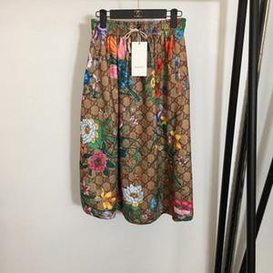 Milan Tasarımcı Kadınlar Etekler Moda Muhteşem Harf Baskı pileleri Etekler Kadınlar 2020 İlkbahar yaz Etekler 0321-20