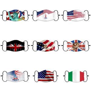 Bandeira dos Estados Unidos Máscara Designer Rosto 2020 Máscaras Usa Presidente Impressão Eleição pára-sol Poeira Trump boca com Filter # 1381