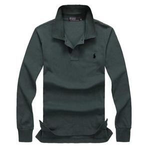 2020 Новая летняя мода стенд воротник рубашки поло Мужчины с длинным рукавом повседневная мужчины рубашки Slim Fit Поло Homme хлопок мужские Поло плюс размер