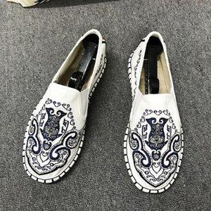 THEAGRANT 2019 Chinese Tranditional Männer flache Schuhe Vintage-Leinwand Loafers Segeltuch-Beleg für nationale Freizeitschuhe für Mann MFS3013