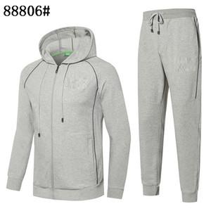 Mens 2020 Designer Fatos outono e confortável algodão slim com capuz Cardigan Jacket duas peças terno dos homens de alta qualidade de Inverno