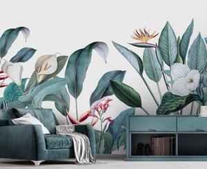 Пользовательские Скандинавские ручная роспись небольшие свежие средневековые тропические растения цветы и птицы украшение фон фреска