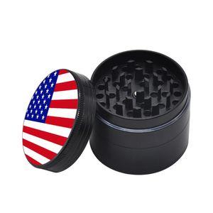 Cartoon National Flag Smoke Tobacco Grinder 4-Layer Zinc Alloy Herbal Spice Cigarette Metal Grinder Crusher Abrader 50mm Diameter