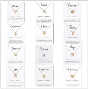 Presentes de aniversário 12 Constelação Do Zodíaco Colar De Pingente Com Cartão Branco Touro Gêmeos Câncer Leão Virgem Libra Escorpião Sagitário Capricórnio