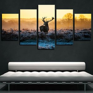 5 paneles Canvas Art Pared Winter Morning Sun Elk Wild Animal impresión del cartel de la lona del aceite Pintura Obras para la sala de estar decoración del dormitorio