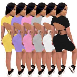 Mulheres Moda Sólidos duas peças Outfits 2020 Verão Lace Up Sem Costas mangas curtas T Shirt New Arrivals Lady Shorts Conjuntos de 6 cores