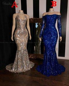Brillantes lentejuelas de plata sirena vestidos de baile africanas 2,020 azul real manga larga formal tamaño del vestido de noche del partido Vestidos Plus