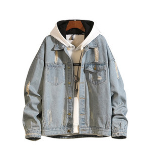 Mens Fashion Brief Denim Jackets Oversize Seasons Lapel Neck Coats Frayed Vintage Pocket Male Street Clothing