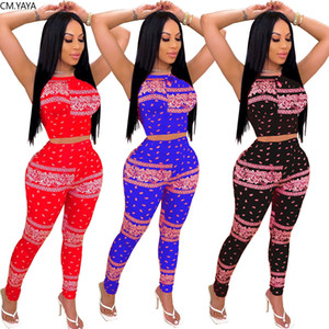 Women Tracksuits Bandanna Two Pieces Sets Tank Tops Jogger Sweatpants Suit Sporty Fitness Night Club 2 Pcs Outfit