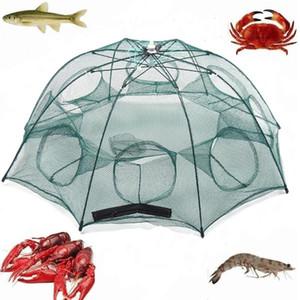 Piegato Rete da pesca 4/6/8/10 Foro automatico pesca dei gamberetti Trappola netto Pesce gamberetti granchio ciprinidi esche Cast Trappola Mesh Fishnet