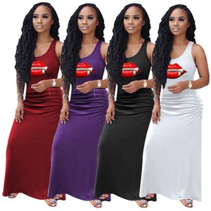 HOT Women Lip Zipper T-shirt Dresses S-2XL Solid Long Dresses Sleeveless Pleated Maxi Dresses Stretchy Sexy Casual Summer Clothing