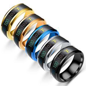 Fashion intelligent Sensing temperature ring Lovers ring titanium steel accessories wholesale