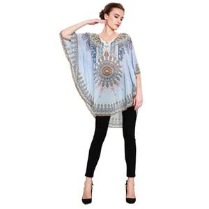 PC 1 las mujeres blusa de estilo Ethnic Print pespunte mujeres flojas ocasionales musulmanes impresión cuello redondo manga del palo de la gasa de la camisa