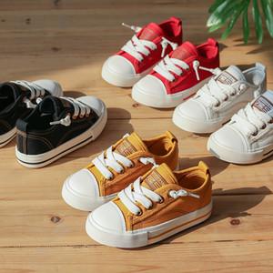 Okul Little Big Kid İlkbahar Yaz Sonbahar Boyutu 24-37 için Çocuk Boys girsin Düşük En Tuval Ayakkabı Çocuk Günlük Dantel-up Nefes Yürüyüş Ayakkabı