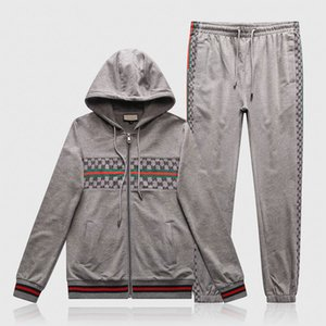 2020New Designer Mens Tracksuit Letter embroidery Zipper Luxury Casual Suits Hoodies Pants Kits Sports Running Tracksuit black