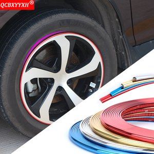 Car Styling 8M Car Wheel Rim Stickers Plating Wheel Automobili Wheel Rim Protector Strips Auto Decorazione esterna Accessori