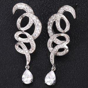 JANKELLY trnado monili di figura completa Mirco asfaltata Micro Zirconia donne Abito da sposa Ogni giorno goccia orecchino di modo