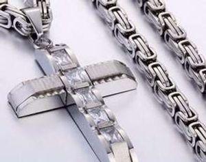 316L الفولاذ المقاوم للصدأ مجوهرات مقلدة البيزنطية صندوق ربط سلسلة قلادة الصليب المعلقات للنساء رجال الهيب هوب اكسسوارات K3590