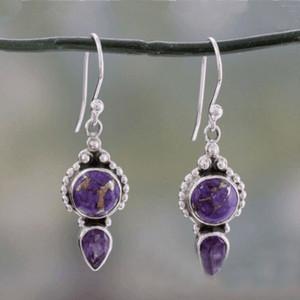 Vintage Purple Naturl Stone S925 Sliver Plaqué Dangle Boucles D'oreilles S276