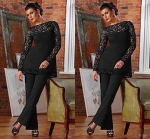 Элегантный кружева с длинным рукавом черный мать невесты костюмы драгоценный камень шеи плюс размер мать брюки костюм повседневная вечерние платья BC0686
