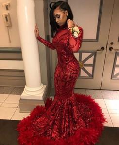 2019 레드 플러스 크기 긴 소매 인어 아프리카 댄스 파티 드레스 깃털과 함께 높은 목 높은 목 우아한 흑인 소녀 저녁 갈라 가운