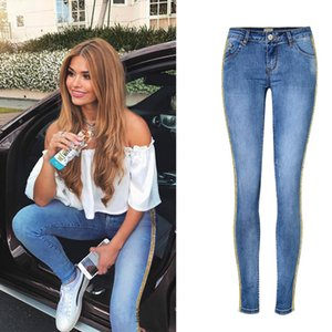 Spring New Low Waist Metal Side Stripe Jeans Women Cotton Denim Slim Skinny Pencil Pants Embroidered Sequins Trousers