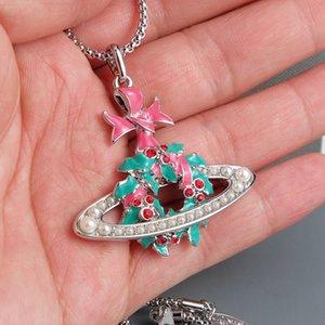 Nouvelle arrivée de Noël Garland Collier Femme collier pendentif perle strass planète chaîne collier haute qualité Accessoires Bijoux