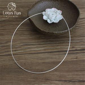 Lotus Fun Kadınlar Tork gerdanlık kolye minimalist takı kardeş doğum günü hediyeleri için hakiki 925 Gümüş Kolye