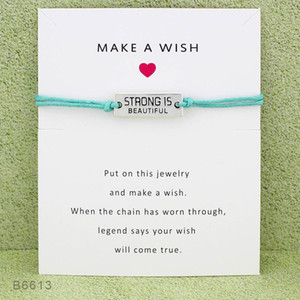 New Strong Is Beautiful Charm Wish pulseras con tarjeta de regalo Amistad infinito ajustable Wrap Bangle Para mujeres Joyería inspirada
