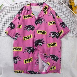 Summer Short Sleeve Shirts Men Turn-down Collar Printing Beach Hawaiian Ins print Pink Blouse Fashion Casual Harajuku Shirts Top