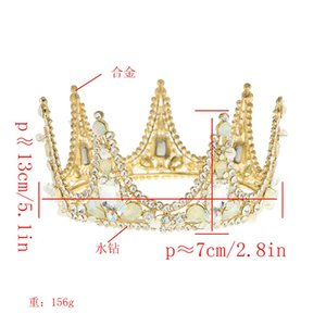 New Crystal Tiara For Brides Crown Gold Head Piece Bridal Hair Accessories Crystal Crowns Queen Diadem Wedding Hair Accessories
