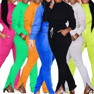 Autumn Winter Solid Color Womens Designer Tracksuits Long Sleeve O Neck Hoodies Spilt With Zipper Long Pants Womens Tracksuit Ladies 2PCS