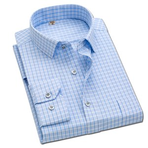 2020 Brand New Men Shirt Male Dress Shirts Striped Men's Casual Long Sleeve Business Formal Plaid Shirt camisa social MX200518