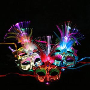 Венецианский светодиодный свет вверх Маска женщины Маскарад маскарадное платье партии Принцесса перо светящиеся маски маскарадные маски HH9-2561