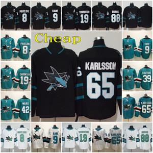 65 Erik Karlsson 2020 cosido Tercer San Jose Sharks, Joe Thornton Evander Kane 88 Brent Burns 8 Joe Pavelski 39 Logan Couture jerseys del hockey