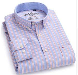 Botão qualidade para baixo camiseta manga comprida Contraste Plaid vestido listrado Oxford Camisa esquerda do peito bolso Masculino Casual Men Slim Fit