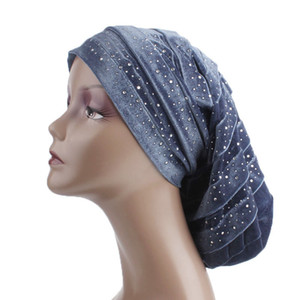 New Diamante Velvet Ruffle Turban Dreadlock Hat Women Muslim Women's Hijabs Women Hats Caps Hair Loss Head Scarf Wrap