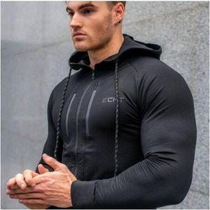 Erkekler Rahat Hoodies Spor Spor Koşu Eğitim Spor vücut geliştirme Kazak Açık Spor Erkek Kapüşonlu Ceket Hoodies Ile Artı Boyutu