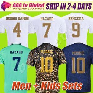 Top-Qualität 2020 GEFAHR BENZEMA REAL MADRID Fußball-Trikot 2019 2020 Fußballhemd Männer Kinder Kits setzt Top-Sport-kurze Ärmel camisa