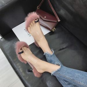 de piel de tacones altos sandalias clip de las mujeres de lujo del dedo del pie diapositivas de piel deslizadores de señoras diseñadores mujer slipers esponjosas Dames moda peludo gg difusa