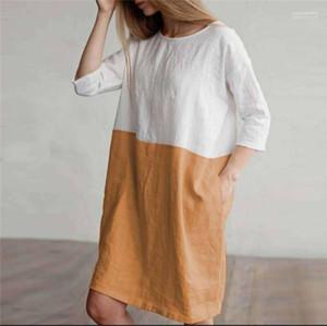 Рубашка платья три четверти длина рукава платья лето Новый 5XL плюс размер платье свободные панельные дизайнер